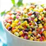 black beans, corn, tomato and red onion salad