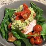 chicken, cherry tomatoes, avocado and baby spinach