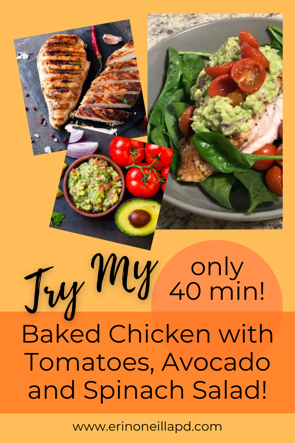 Photo's of baked chicken and tomato, avocado and spinach salad in grey bowl..